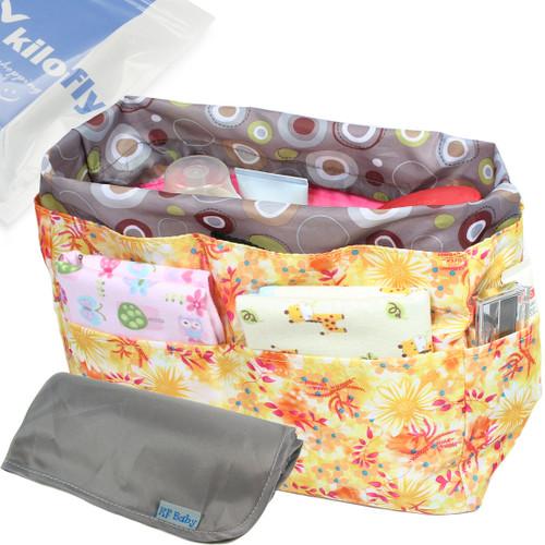 KF Baby Diaper Bag Insert Drawstring Closure Organizer + Changing Pad Value Combo