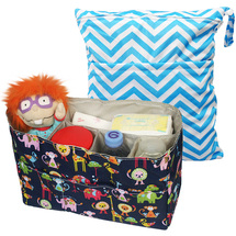 "KF Baby Diaper Bag Insert Organizer (12 x 4.8 x 8"") + Wet Dry Bag Value Combo"