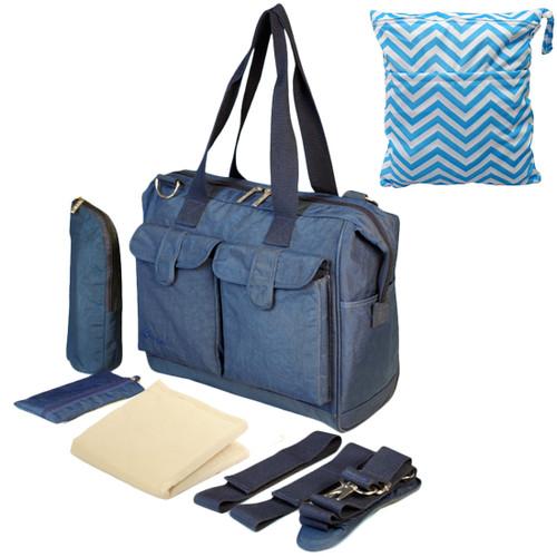KF Baby Diaper Bag Value Set + Stroller Straps, Wet Dry Bag, Changing Pad, more