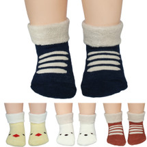 KF Baby Non-Skid Cotton Socks Value Pack, Set of 4 Pairs, Newborn to Toddlers
