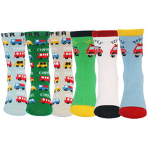 KF Baby Cars Non-Skid Cotton Socks Value Pack [6 Pairs Set], Infant to Toddler