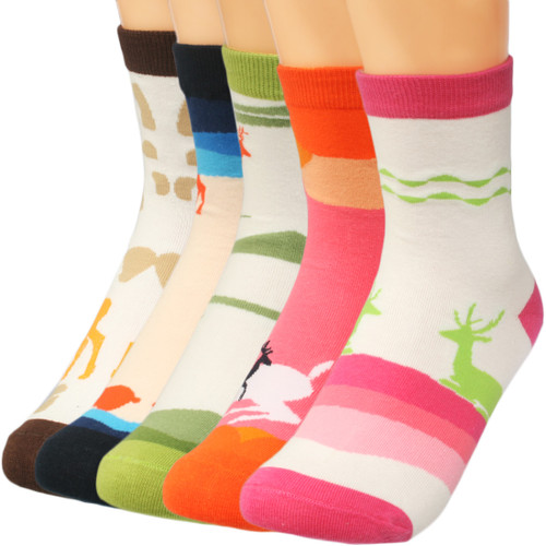 kilofly Mix & Match Colorful Crew Socks Value Pack, 5 Pairs Set, Lovely Deer