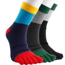 kilofly Unisex Full Toe Cotton Colorful Crew Socks Value Pack, Set of 3 Pairs