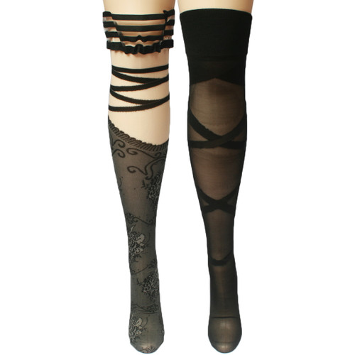 kilofly Thigh High Hold Ups Sheer Stockings Combo [2 Pairs Set] Stripes & Lace