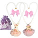kilofly Princess Party Favor Jewelry Value Pack, 2 Necklaces & 2 Hair Clips Set