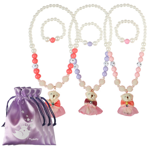 kilofly Princess Party Favor Jewelry Value Pack, Necklace & Bracelet, 3 Sets
