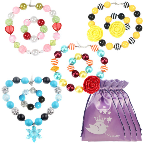kilofly Princess Party Favor Jewelry Value Pack, Necklace & Bracelet, 4 Sets