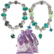 kilofly Women's Carved Glass Beads Silver Plated Charm Bracelet, Set of 2