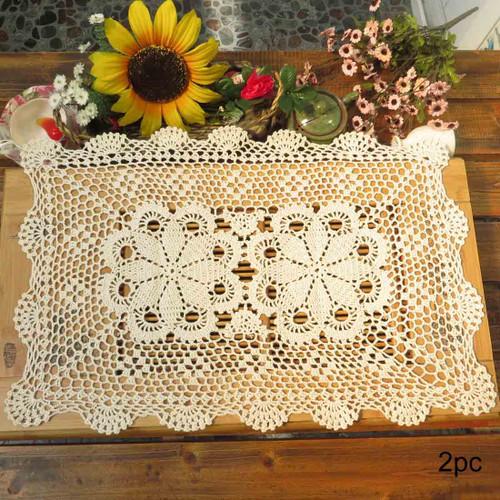 kilofly Crochet Cotton Lace Table Placemats Doilies Set, Oblong, 15 x 23 inch