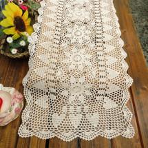kilofly Handmade Crochet Lace Rectangular Table Runner, Various Sizes