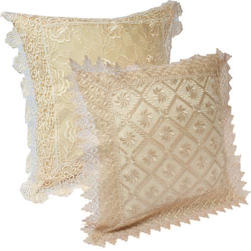 "kilofly Decorative Vintage Lace Cushion Cover Pillow Case 15"" x 15"", Set of 2"