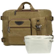 kilofly Macbook Laptop Canvas Backpack Shoulder Bag + Handy Pouch Value Combo