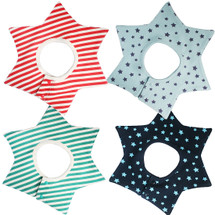 KF Baby Boys Girls Waterproof Super Absorbent Cotton Wrap Around Bibs [Set of 4]