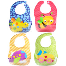 KF Baby Boy Girl Soft Waterproof Velcro Snaps Catcher Pocket Bibs Value Set of 4
