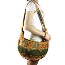 kilofly Bohemian Hippie Cloth Crossbody Shoulder Bag, Adjustable Strap