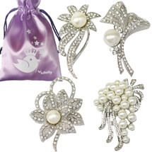 kilofly 4pc Faux Pearl Rhinestone Crystal Floral Pendant Brooch Pin + Gift Bag
