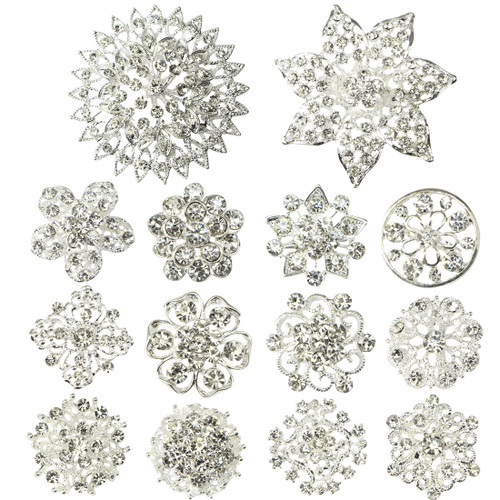 kilofly 14pc Bridal Rhinestone Crystal Flower Bouquet Corsage Wedding Brooch Pin