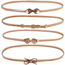 kilofly 4pc Women's Gold Metal Thin Skinny Stretch Cinch Belt Fashion Waistband