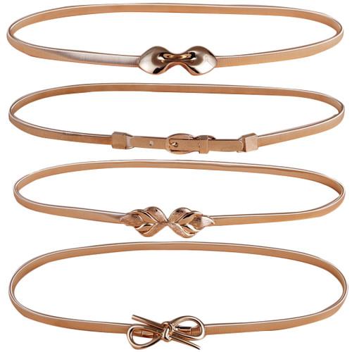 kilofly 4pc Women's Gold Metal Thin Skinny Stretch Cinch Belt Fashion Waistband