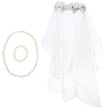 kilofly Girls First Communion Flower Headband Veil + Necklace Bracelet Value Set