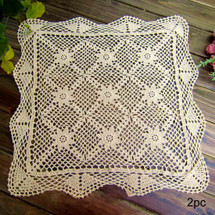 kilofly Handmade Crochet Cotton Lace Table Placemats Sofa Doilies, 2pc, Square, Beige,19.6 inch
