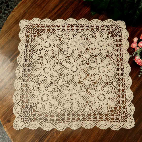 kilofly Handmade Crochet Cotton Lace Table Placemats Sofa Doilies, Square, Beige, 23 inch