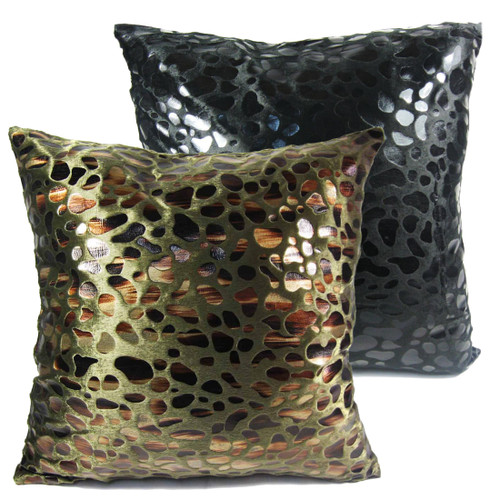 "kilofly Home Decorative Throw Pillow Cover, 18"" x 18"", Value Combo [Set of 2], Speckles Black & Dark Green, with kilofly Refrigerator Magnet"