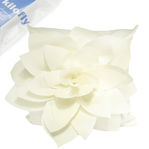 "kilofly Home Decor Throw Pillow Cover, 18"" x 18"", 3D Dahlia, Off White"