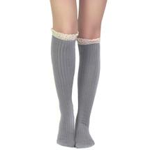 kilofly Women's Soft Lace Trim Knee-High Socks, Gray