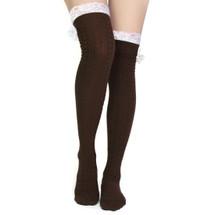 kilofly Women's Lace Trim Knee-High Boot Socks, Brown