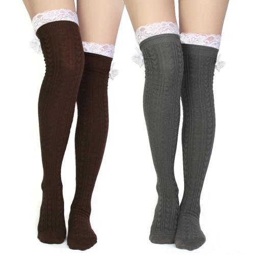 kilofly Women's Lace Trim Knee-High Boot Socks, Value Set of 2 Pairs