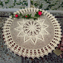 kilofly Handmade Crochet Cotton Lace Table Sofa Doily, Waterlily, 22 inch