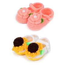 kilofly Socks Baby Girl Newborn Infant Hand Crochet Shoes Booties, Set of 2