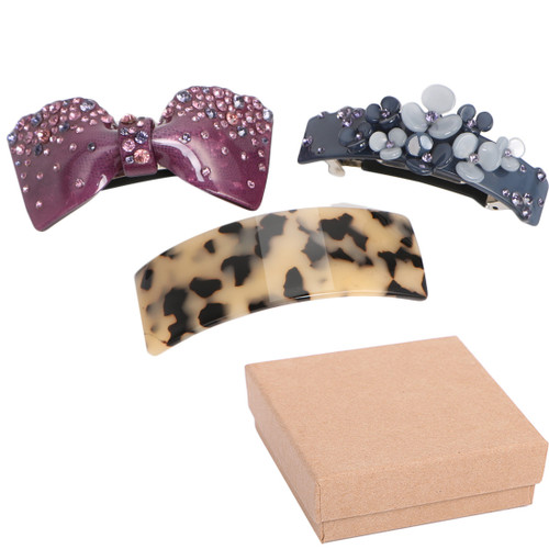 kilofly 3pc Classic Hair Clip Barrette Ponytail Accent Pin Value Pack + Gift Box