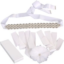 kilofly 2pc Women's Crystal Bridal Belt Wedding Dress Waistband Sash + Gift Box