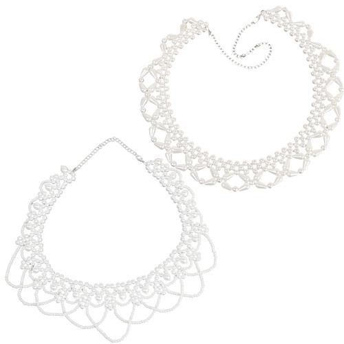 kilofly 2pc Women's White Faux Pearl Beaded False Collar Necklace Fashion Choker