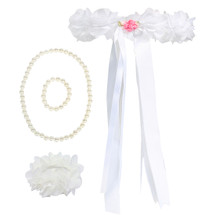 kilofly Wedding Flower Girl Headpiece, Floral Wrist Band + Necklace Bracelet Set