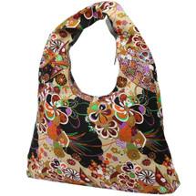 kilofly Bohemian Hippie Gypsy Soft Cotton Cloth Zipper Shoulder Bag Handbag Tote