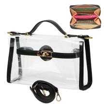 kilofly Women's Purse Transparent Bag Shoulder Crossbody Clear Clutch + Wallet