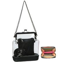 kilofly Women's 2-in-1 Transparent Clear Bag Shoulder Crossbody Purse + Wallet