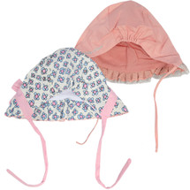 KF Baby Girls Ruffle Cap Bonnet Hat Value Pack, Set of 2, Newborn Infant Toddler