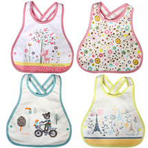 KF Baby 4pc Soft Waterproof Cotton Absorbent Wrap Snap Lock Drooler Bibs Set