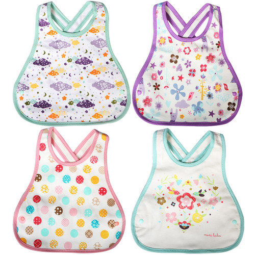 KF Baby 4pc Soft Waterproof Cotton Absorbent Wrap Snap Lock Drooler Bibs Set