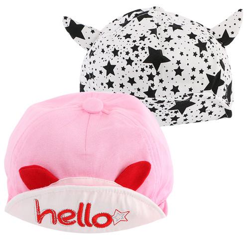 KF Baby 2pc Unisex Soft Brim Snapback Baseball Cap Infant Toddler Kid Beanie Hat