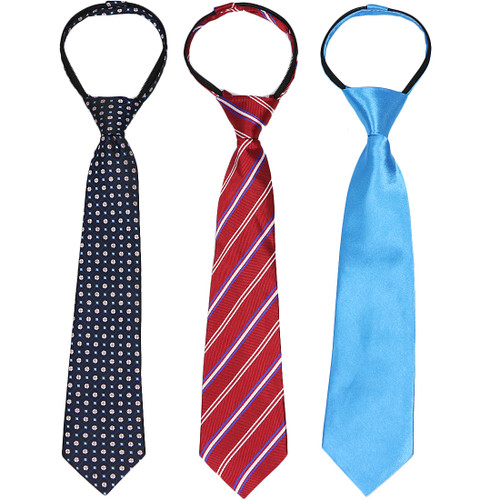 kilofly 3pc Pre-tied Adjustable Zipper Tie Kids Neck Strap Boys Baby Necktie