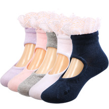 KF Baby Girl Lace Cotton Soft Sandals Summer Socks, 5 Pairs, Infants to Toddlers