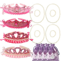 kilofly Princess Party Favor Jewelry Pack, Tiara & Necklace & Bracelet, 4 Sets