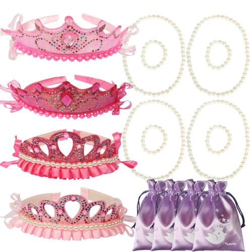 kilofly Princess Party Favor Jewelry Pack, Tiara & Necklace & Bracelet, 4 Sets