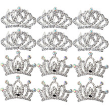 kilofly 12pc Princess Party Favor Crown Crystal Rhinestone Tiara Hair Comb Clip