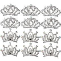 kilofly 12pc Princess Party Favor Crown Crystal Rhinestone Tiara Hair Comb Clip